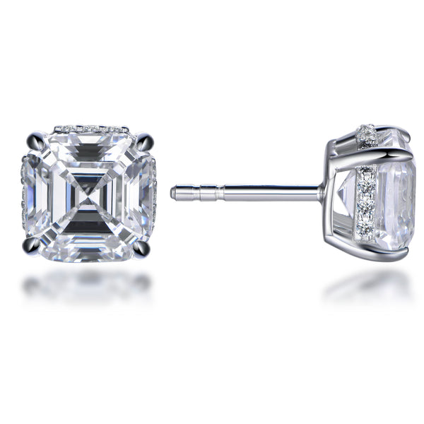 Labyrinth Diamonds Asscher Hidden Diamond Halo Studs