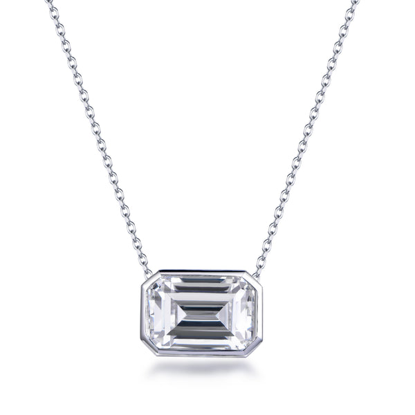Labyrinth Diamonds Bezel Set 14K White Gold Lab Diamond Pendant on Chain Emerald