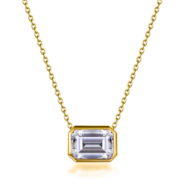 Labyrinth Diamonds Bezel Set 14K Yellow Gold Lab Diamond Pendant on Chain Emerald