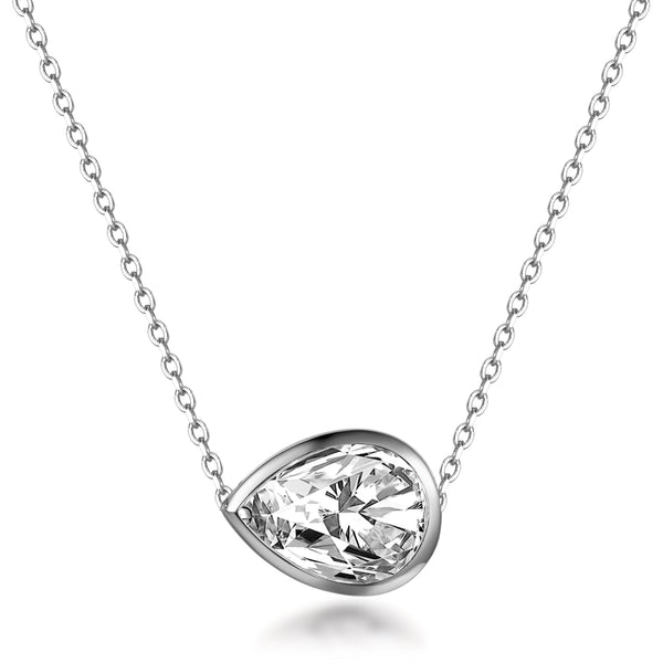 Labyrinth Diamonds Bezel Set Diamond Pendant on Chain - Pear