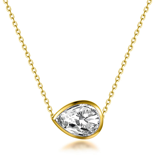 Labyrinth Diamonds Yellow Gold Bezel Set Diamond Pendant on Chain - Pear
