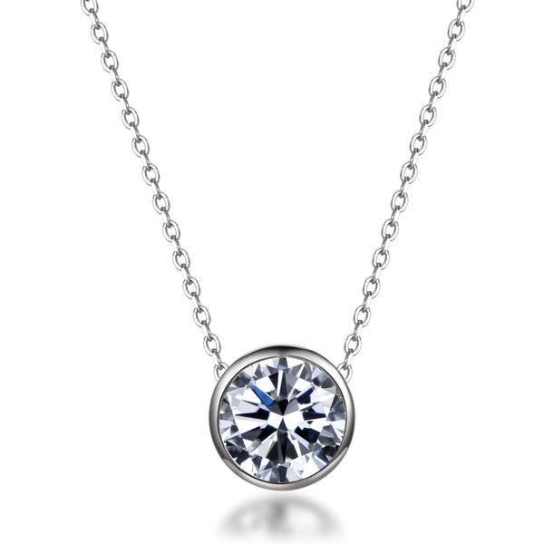 Labyrinth Diamonds Bezel Set Diamond Pendant on Chain - Round