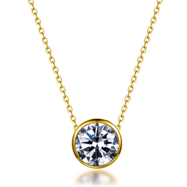Labyrinth Diamonds Yellow Gold Bezel Set Diamond Pendant on Chain - Round