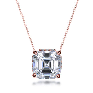 Labyrinth Diamonds Asscher Hidden Halo Solitaire Lab Diamond Pendant in 14K Gold