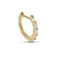 "Load image into Gallery viewer, Atelier All Day 14K ""Diamond"" CZ Baguette Huggie Hoops"