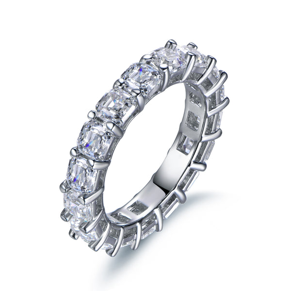 Labyrinth Diamonds Asscher Cut Diamond Eternity Band in 14K White Gold