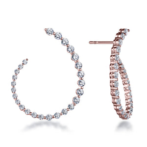 "Labyrinth Diamonds 14K Rose Gold Curved Diamond ""Twist"" Hoop Earrings"