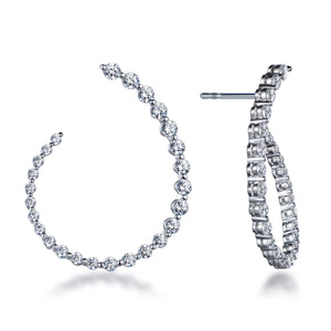 "Labyrinth Diamonds 14K White Gold Curved Diamond ""Twist"" Hoop Earrings"