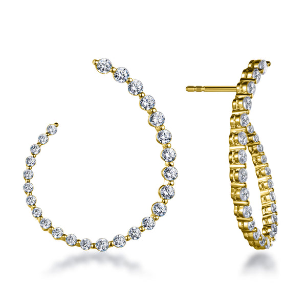 "Labyrinth Diamonds 14K Yellow Gold Curved Diamond ""Twist"" Hoop Earrings"