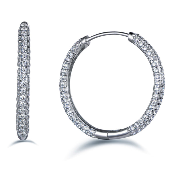 Labyrinth Diamonds Round Pave Diamond Hoops
