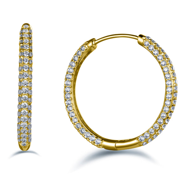 Labyrinth Diamonds 14K Gold Round Pave Diamond Hoops