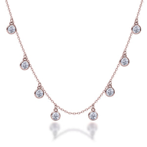 Labyrinth Diamonds 14K Rose Gold Diamond Bezel Set on Chain
