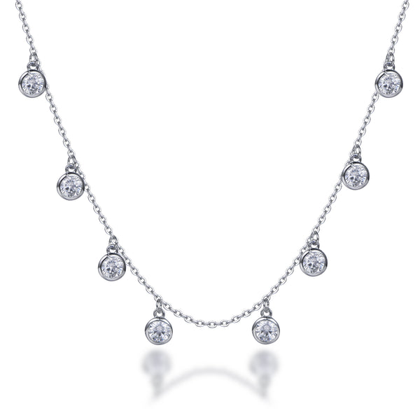 Labyrinth Diamonds 14K White Gold Diamond Bezel Set on Chain
