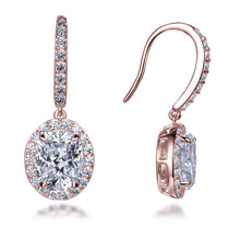 Load image into Gallery viewer, Labyrinth Diamonds 14K Gold Oval on French Wire Halo Diamond Studs
