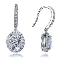 Load image into Gallery viewer, Labyrinth Diamonds Oval on French Wire Halo Diamond Studs