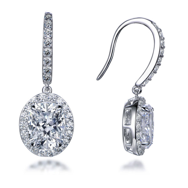 Labyrinth Diamonds Oval on French Wire Halo Diamond Studs