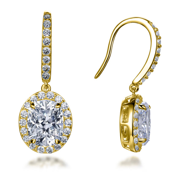 Labyrinth Diamonds 14K Gold Oval on French Wire Halo Diamond Studs