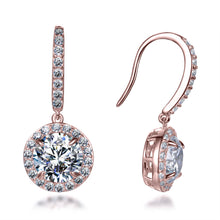 Load image into Gallery viewer, Labyrinth Diamonds 14K Rose Gold Round on French Wire Halo Diamond Studs