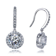 Load image into Gallery viewer, Labyrinth Diamonds 14K White Gold Round on French Wire Halo Diamond Studs