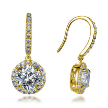 Load image into Gallery viewer, Labyrinth Diamonds 14K Yellow Gold Round on French Wire Halo Diamond Studs