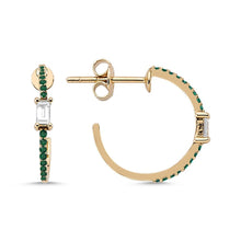 Load image into Gallery viewer, OWN Your Story Diamond Baguette and Emerald Small Hoops