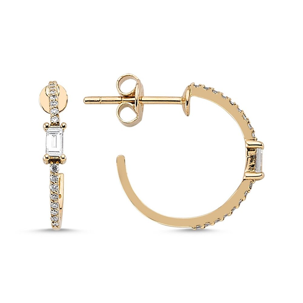 OWN Your Story Baguette and White Diamond Small Hoops