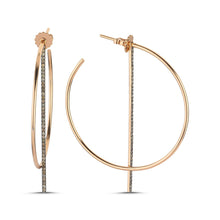 Load image into Gallery viewer, OWN Your Story Offset Hoops with Cognac Diamonds - Wear Two Ways!