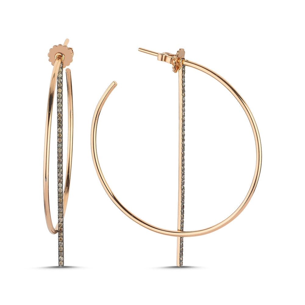 OWN Your Story Offset Hoops with Cognac Diamonds - Wear Two Ways!
