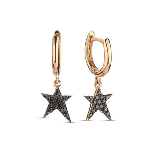 OWN Your Story Rock Star Huggie Hoop Earrings with Black Diamonds