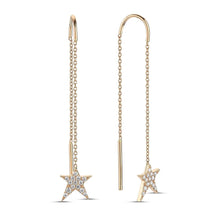Load image into Gallery viewer, OWN Your Story Swinging Threader Diamond & Gold Rockstar Earrings