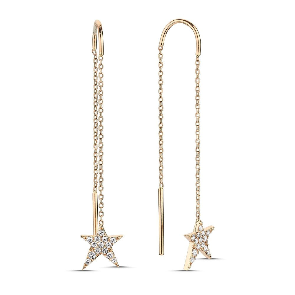 OWN Your Story Swinging Threader Diamond & Gold Rockstar Earrings
