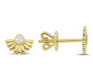 OWN Your Story 14K Gold Face the Sun White Diamond Studs