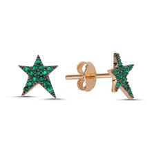Load image into Gallery viewer, OWN Your Story Emerald Rock Star Studs