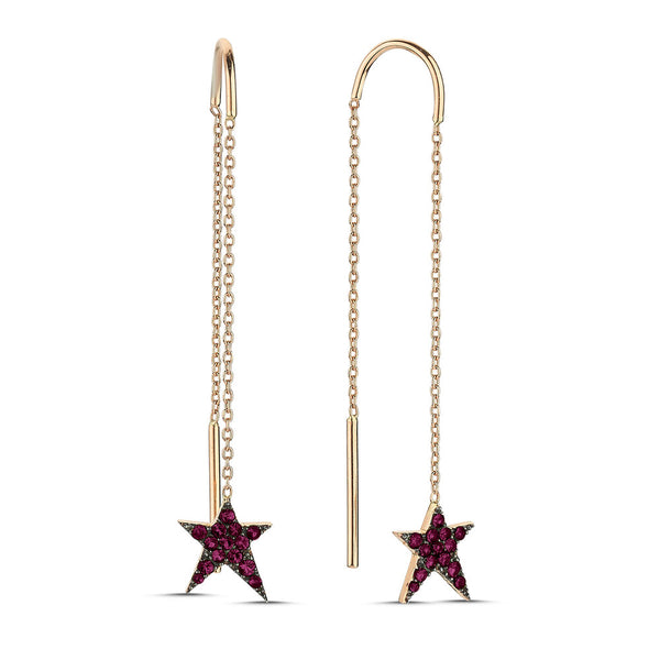 OWN Your Story Swinging Threader Ruby & Gold Rock Star Earrings