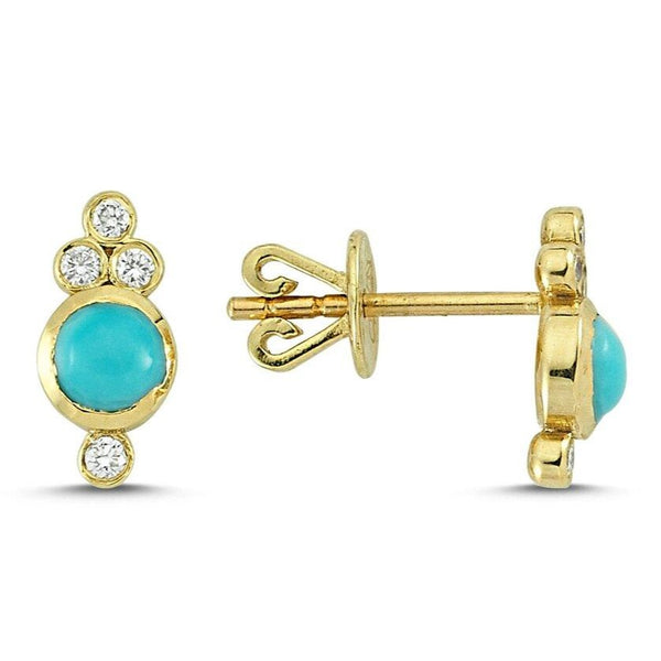 OWN Your Story 14K Gold Nirvana White Diamond and Turquoise Studs
