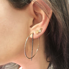 Load image into Gallery viewer, OWN Your Story Offset Hoops with Black Diamonds - Wear Two Ways!