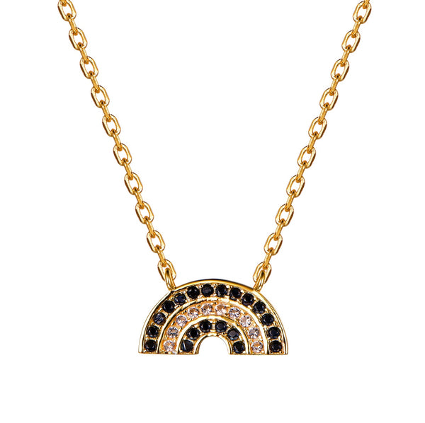 Atelier All Day 14K Gold Vermeil Black and Gold CZ Rainbow Pendant