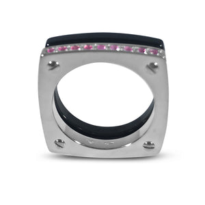 Matthia's & Claire Cube Collection Double Cube Ring Black and WG with Pink Sapphires