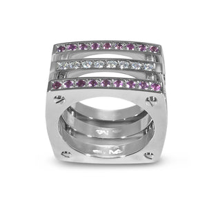 Matthia's & Claire Cube Collection Triple Cube Ring WG with Pink Sapphires and Diamonds