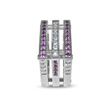 Load image into Gallery viewer, Matthia's & Claire Cube Collection Triple Cube Ring WG with Pink Sapphires and Diamonds