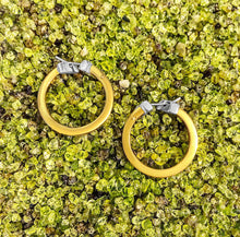 Load image into Gallery viewer, Matthia's & Claire Small Flat Yellow Gold Hoops