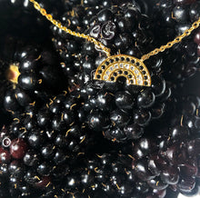 Load image into Gallery viewer, Atelier All Day 14K Gold Vermeil Black and Gold CZ Rainbow Pendant