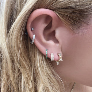"Atelier All Day 14K ""Emerald"" CZ Baguette Huggie Hoops"
