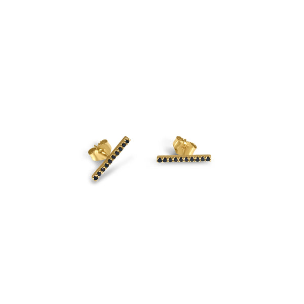 Atelier All Day 14K Gold & Black Diamond Bar Stud Earrings