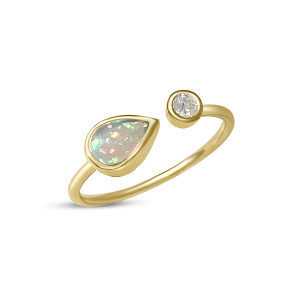Atelier All Day 14K Gold, Opal & Diamond Ring