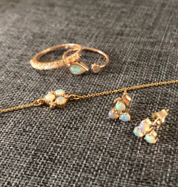 Atelier All Day 14K Gold, Opal and Diamond Chain Bracelet