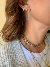 Load image into Gallery viewer, Anné Gangel Floating Turquoise Pebble & Gold Threader Earrings