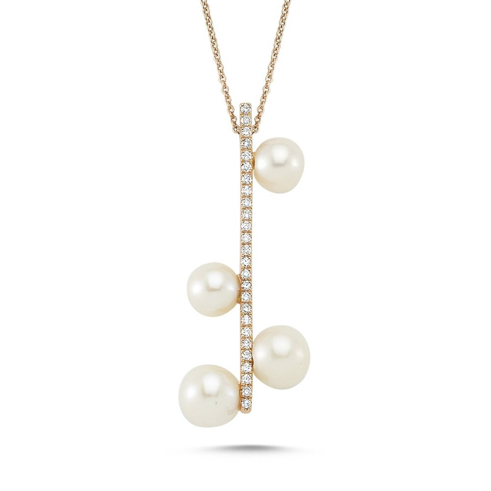 OWN Your Story Pavé Bar Pearl Droplet Necklace
