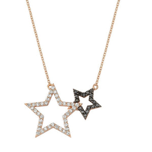 OWN Your Story Two-Star Black and White Diamond Pendant