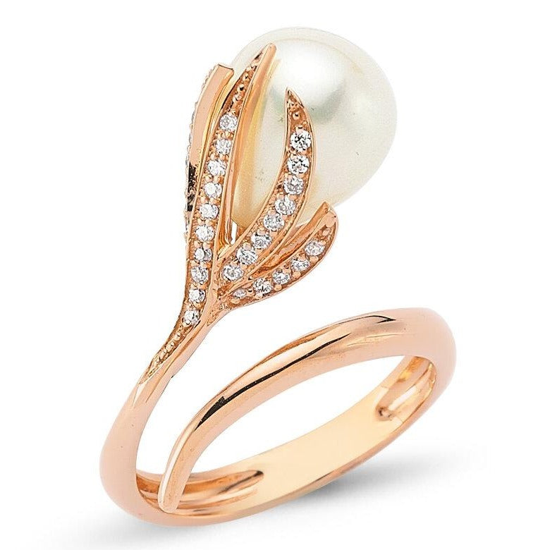 OWN Your Story Pearl Flower Ring with Diamonds